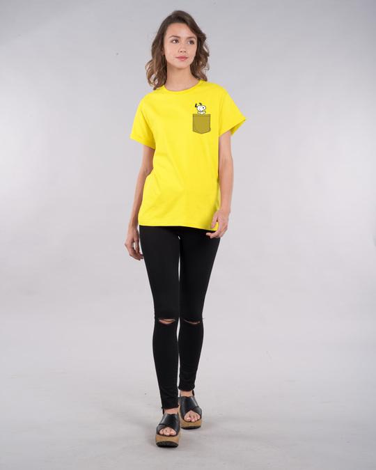 Shop Snoopy Pocket Boyfriend T-Shirt-Full