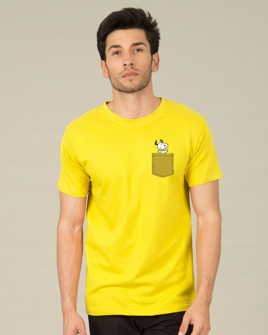Shop Snoopy Pocket Half Sleeve T-Shirt-Back