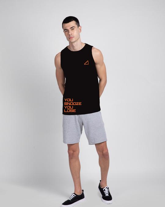 Shop Snooze Lose Round Neck Vest Black-Design