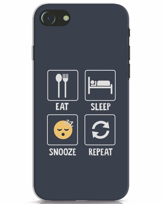 Shop Snooze Repeat iPhone 8 Mobile Cover-Front