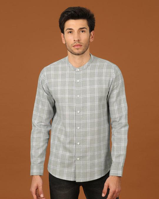 Shop Snow Grey Mandarin Collar Shirt-Front