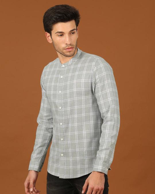 Shop Snow Grey Mandarin Collar Shirt-Back