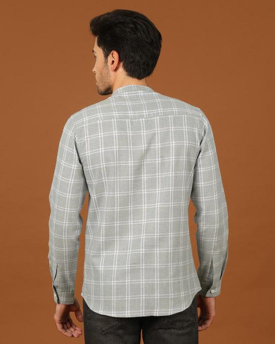 Shop Snow Grey Mandarin Collar Shirt-Design