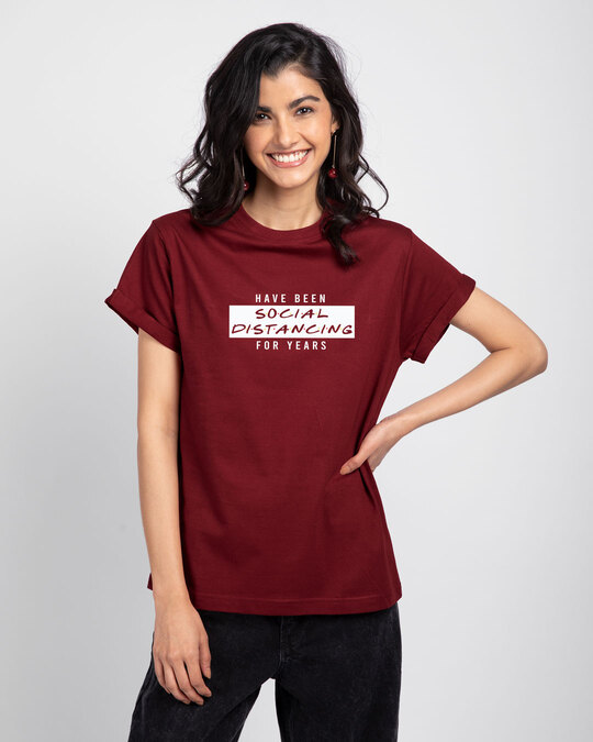 Shop Social Distancing For Years Boyfriend T-Shirt-Front
