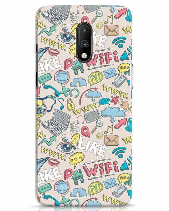 Shop Social Doodle OnePlus 7 Mobile Cover-Front
