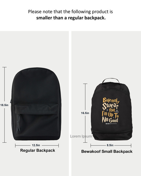 Shop Solemnly Swear Printed Small Backpack (HPL)-Back