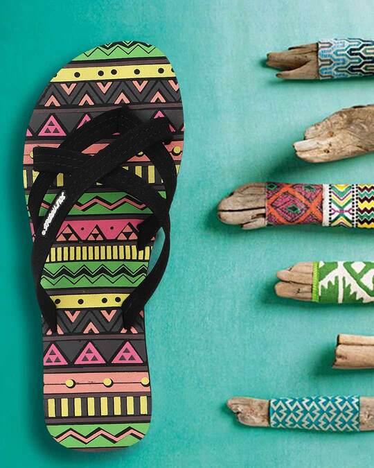 Shop Solethread Aztec Black Women's Flip-Flop-Full
