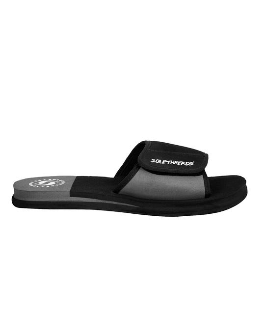 Shop Solethread Freeway Black & Grey Velcro Adjustable Strap Men's Sliders-Full