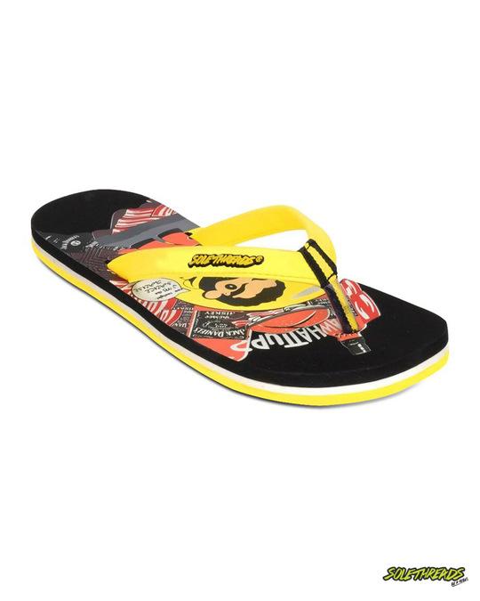 Shop Solethread Mr.Jack Black & Yellow Men's Flip-Flop-Front