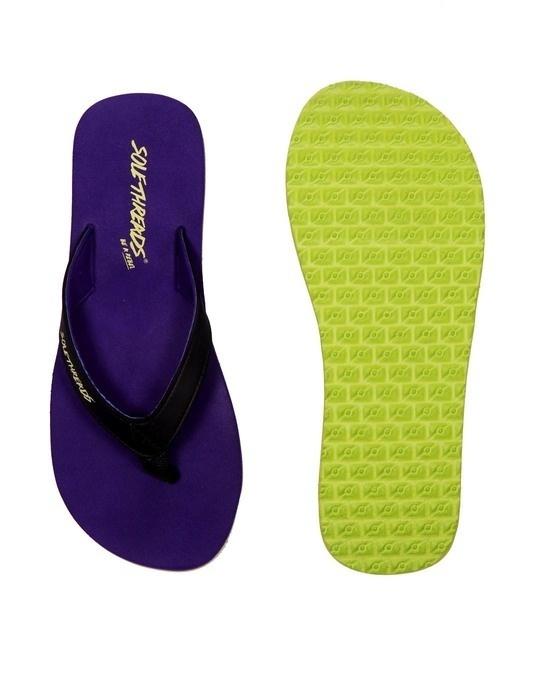Shop St Basic   Purple/Lime Flip Flops For Women-Full