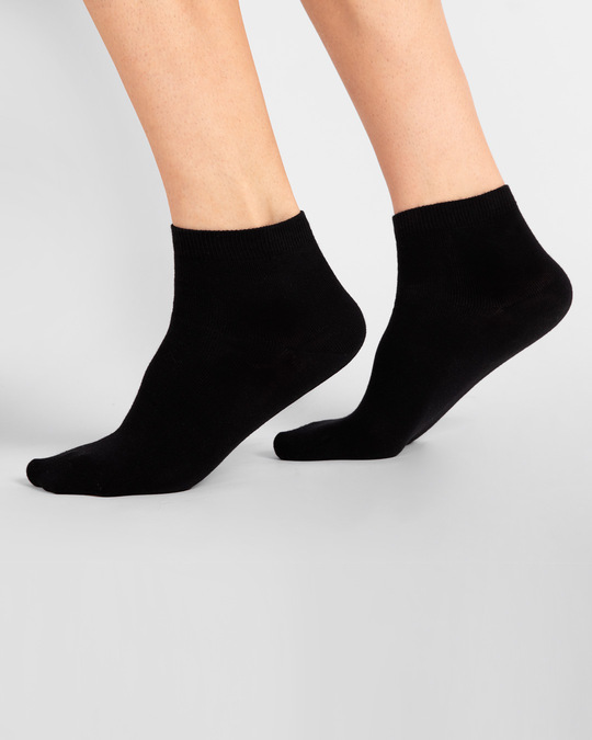 Shop Men's Solid Black Ankle Length Socks-Front