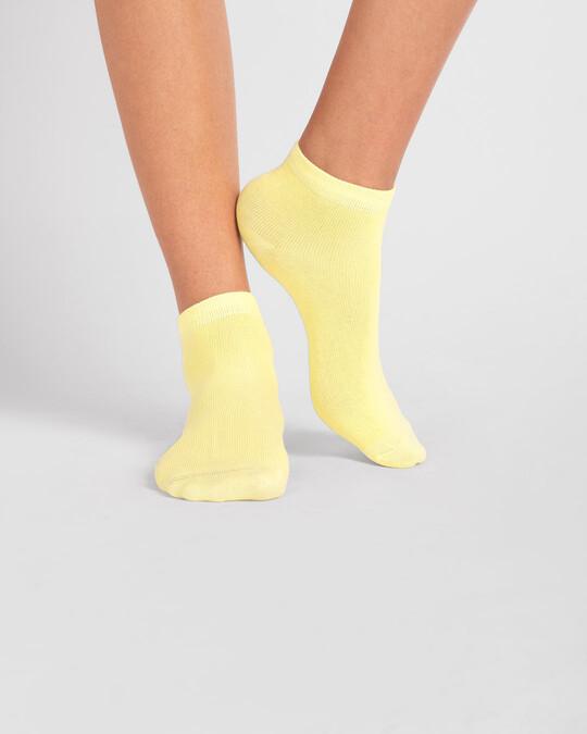 Shop Women's Solid Cream Yellow Ankle Length Socks-Design