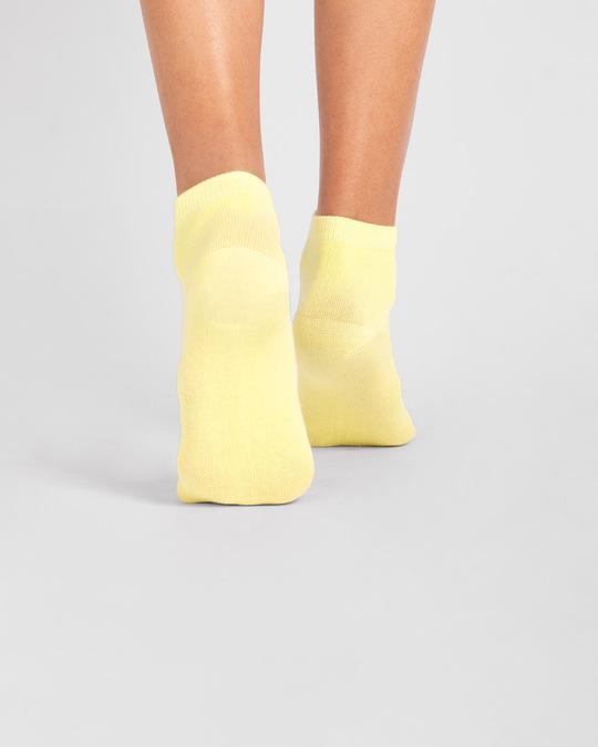 Shop Women's Solid Cream Yellow Ankle Length Socks-Full