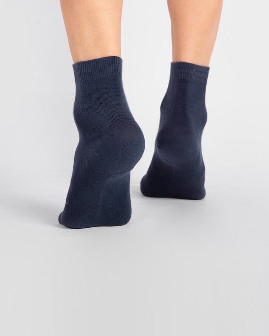 Shop Men's Solid Navy Ankle Length Socks-Full