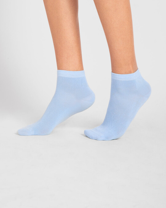 Shop Women's Solid Powder Blue Ankle Length Socks-Front