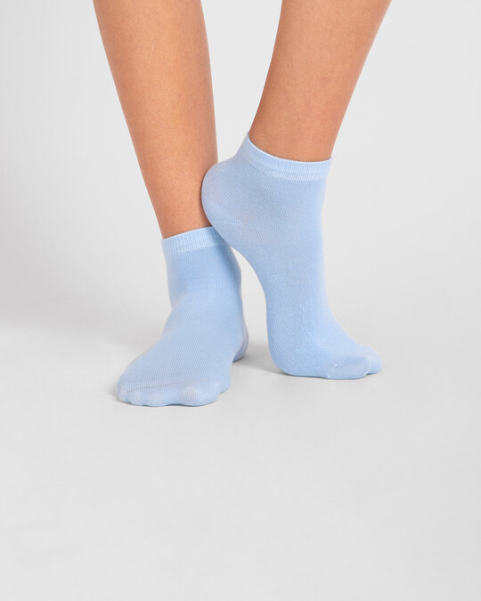 Shop Women's Solid Powder Blue Ankle Length Socks-Design