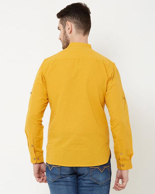 Shop Men Mustard Solid Short Kurta