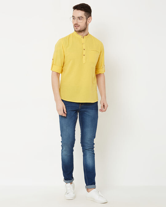 Shop Men Yellow Solid Short Kurta