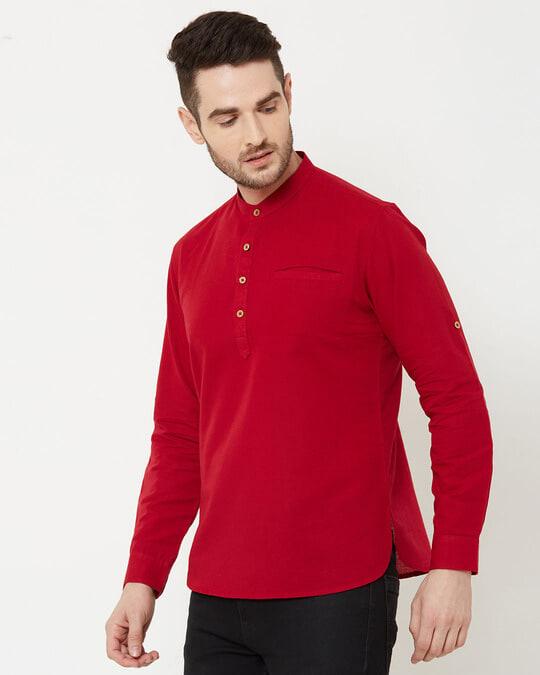 Shop Men Deep Red Solid Short Kurta-Design