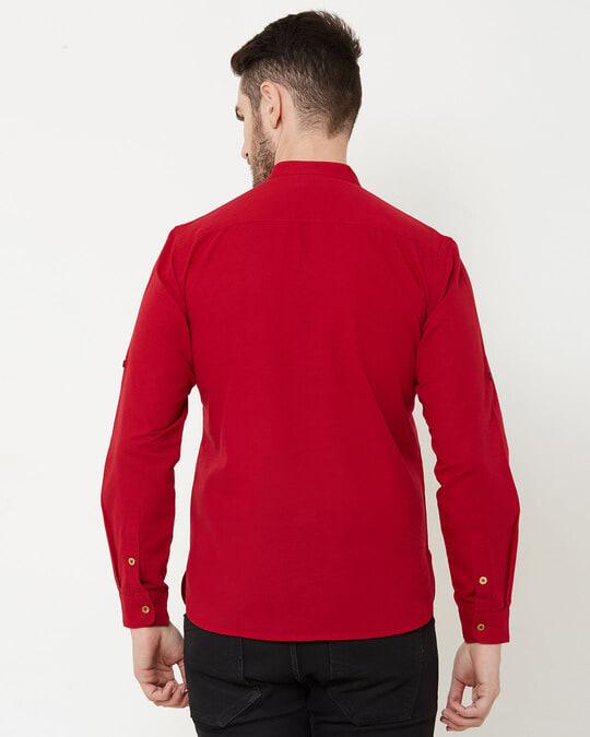 Shop Men Deep Red Solid Short Kurta