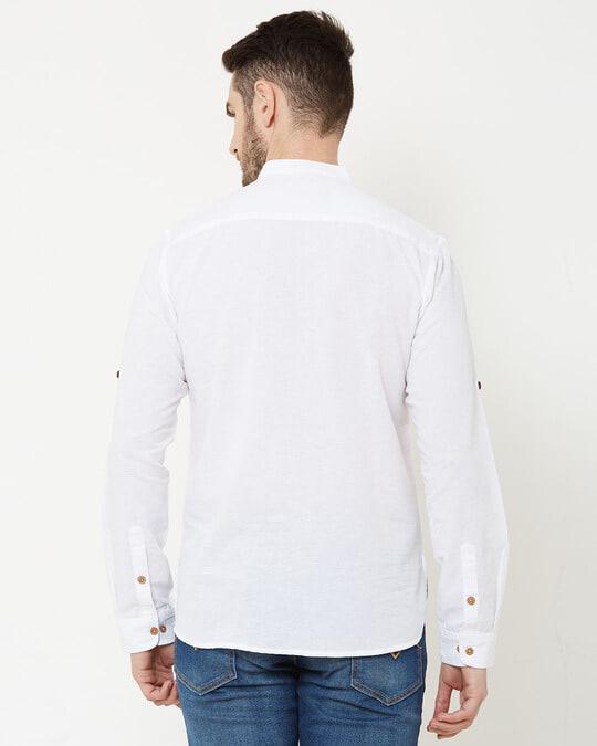 Shop Men White Solid Short Kurta