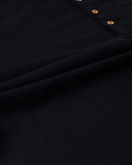 Shop Men Black Solid Short Kurta