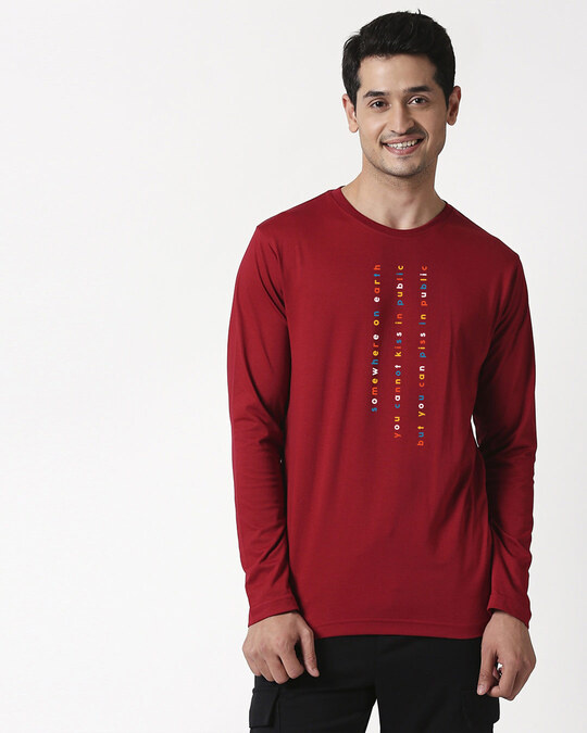 Shop Somewhere on Earth Full Sleeve T-Shirt Cherry Red-Front