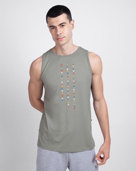 Shop Somewhere on Earth Round Neck Vest Meteor Grey-Front