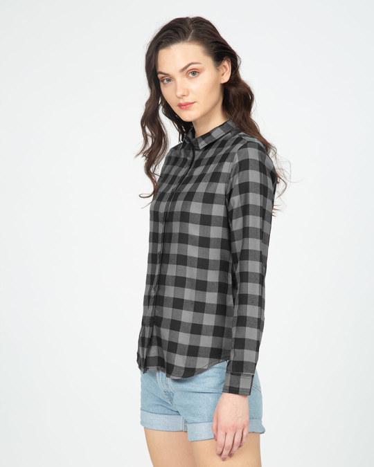 Shop Soot Black Check Slim Shirt-Full