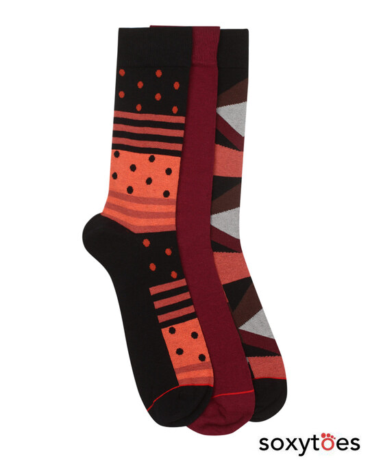 Shop Soxytoes Code Red Crew Socks (Pack of 3)-Front