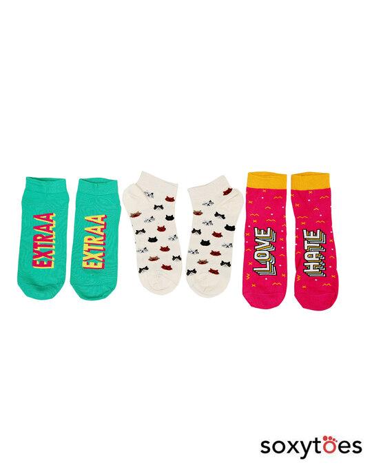 Shop Soxytoes Gossip Girls Ankle Socks (Pack of 3)-Front