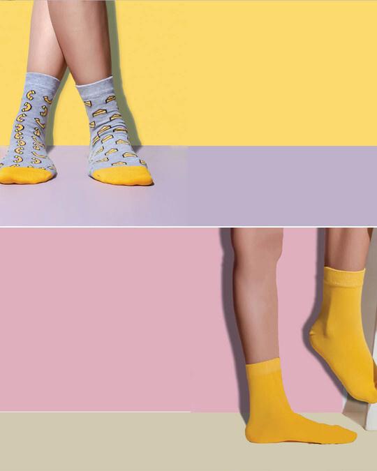 Shop Soxytoes Yellow Sockaholic Ankle Socks (Pack of 2)