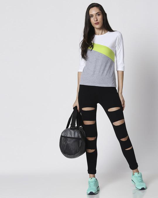 Shop Space Grey Women's 3/4 Sleeve 90's Vibe Asymmetric Three Panel T-Shirt