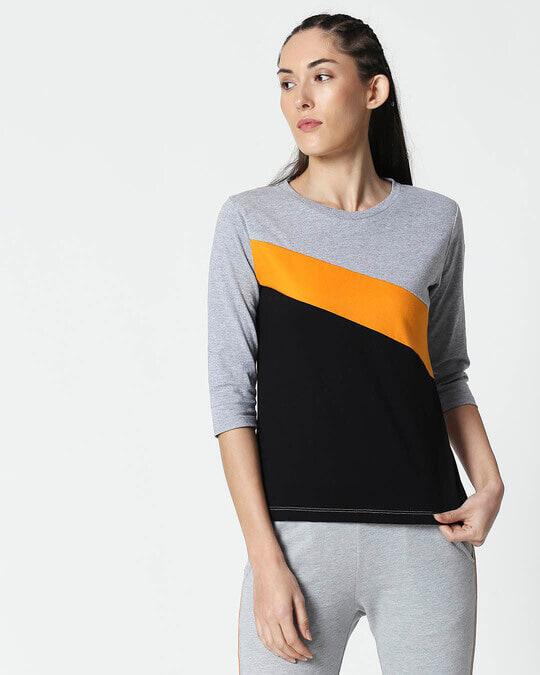 Shop Space Grey Women's 3/4 Sleeve 90's Vibe Asymmetric Three Panel T-Shirt-Back