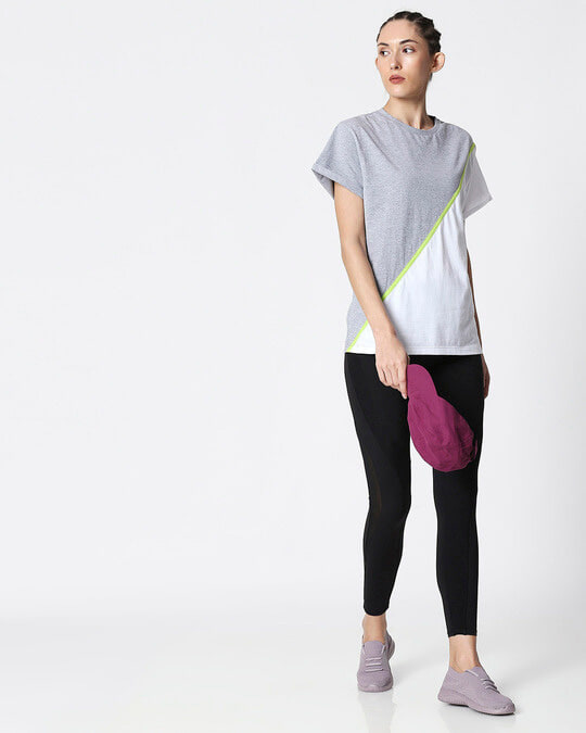 Shop Space Grey Women's Half Sleeve 90's Vibe Asymmetric Three Panel Boyfriend T-Shirt