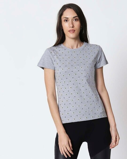 Shop Space Grey Women's Half Sleeve All Over Printed T-Shirt-Front