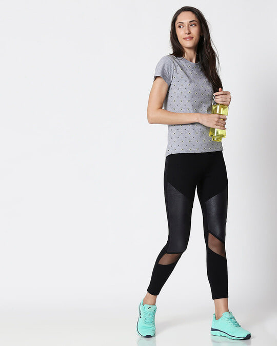 Shop Space Grey Women's Half Sleeve All Over Printed T-Shirt-Full