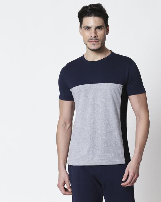 Shop Space Grey Men's Half Sleeve 90's Vibe Three Panel T-Shirt-Front