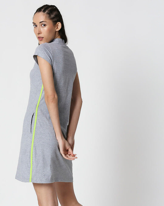 Shop Space Grey Women's Half Sleeve High Neck Pocket Dress-Full