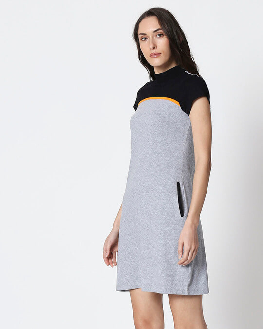 Shop Space Grey Women's Half Sleeve High Neck Two Panel Pocket Dress-Design