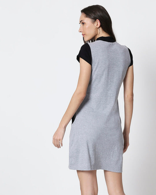 Shop Space Grey Women's Half Sleeve High Neck Two Panel Pocket Dress-Full