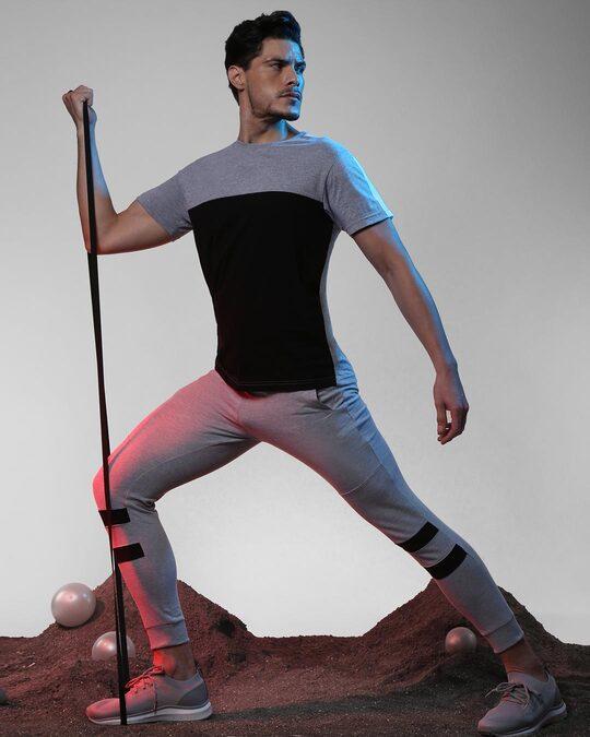 Shop Space Grey Men's Pocket Panel Casual Jogger Pant-Front