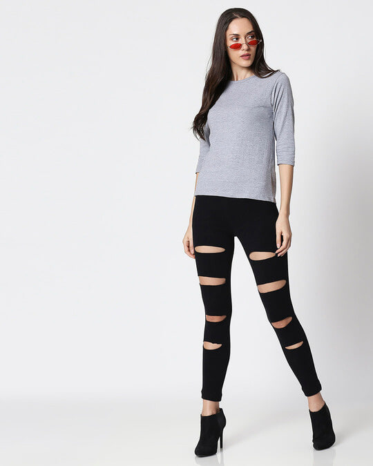 Shop Space Grey Women's 3/4 Sleeve Round Neck T-Shirt