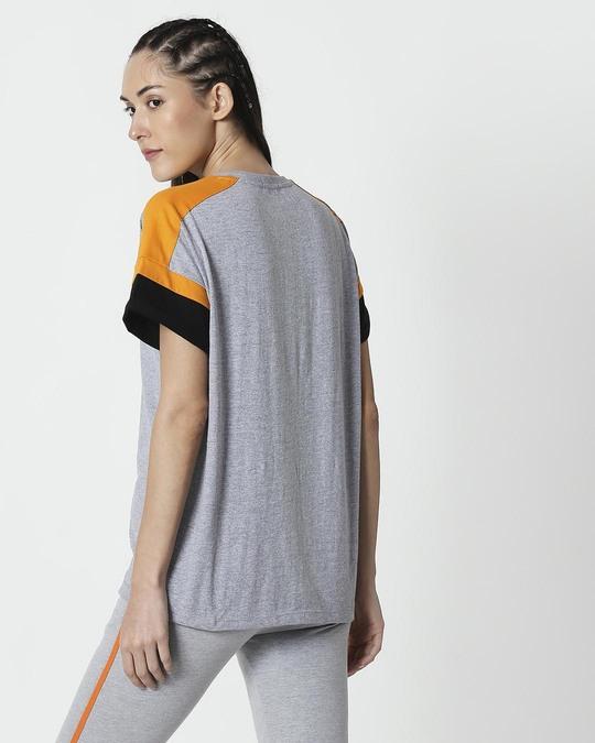 Shop Space Grey Women's Half Sleeve Side Panel Boyfriend T-Shirt-Full
