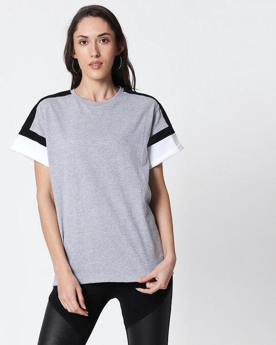 Shop Space Grey Women's Half Sleeve Side Panel Boyfriend T-Shirt-Back