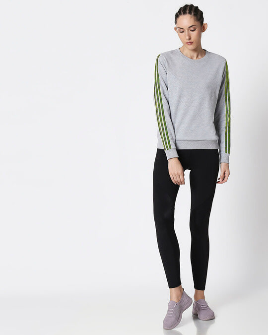 Shop Space Grey Women's Full Sleeve Side Panel Fleece Sweater