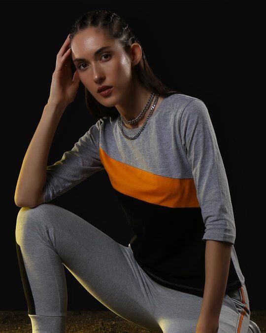 Shop Space Grey Women's 3/4 Sleeve 90's Vibe Asymmetric Three Panel T-Shirt-Front