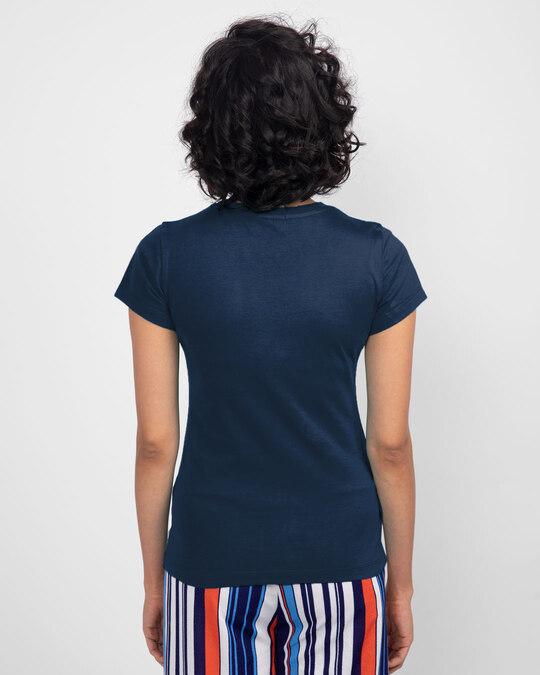 Shop Space It Out Half Sleeve T-Shirt Navy Blue-Design