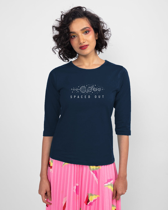 Shop Space It Out Round Neck 3/4th Sleeve T-Shirt Navy Blue-Back