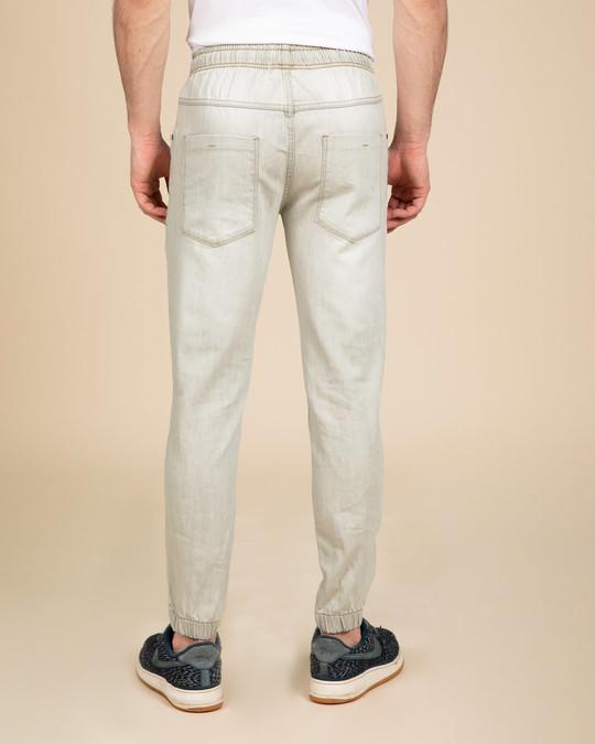 Shop Spanish Grey Plain Denim Joggers